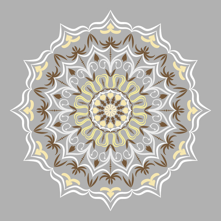 Ethnic decorative round element, Lace Patterns on gray background vector illustration.