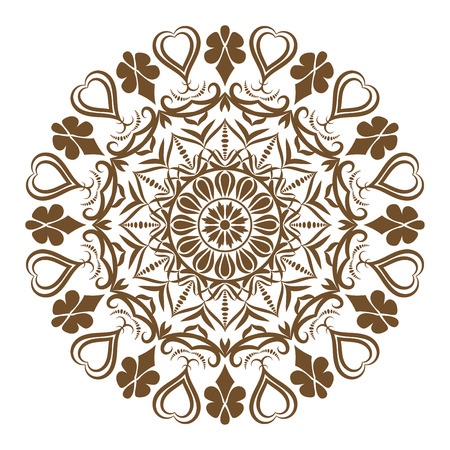 Ethnic decorative round element, Lace Patterns on white background vector illustration.