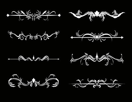 Set of calligraphic decorative elements for design, vector illustration.