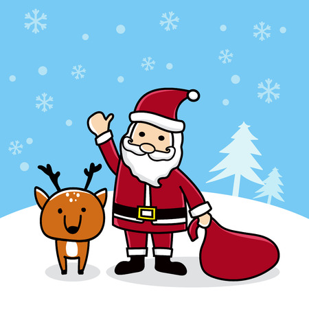 Cute cartoon Santa with reindeer Merry Christmas Card vector illustration. Ilustrace