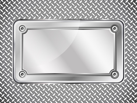 Metal texture abstract background, steel nameplate with screws, vector illustration.