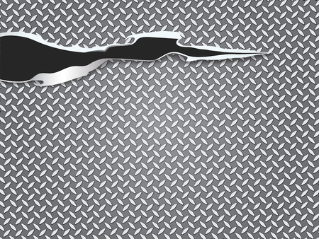 Cut a hole Metal texture abstract background vector illustration. Illustration