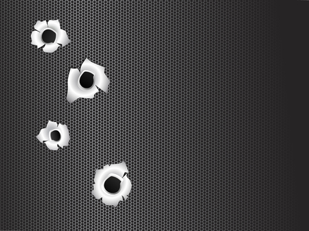 Bullet holes on Black metal grill Abstract background, vector illustration. Ilustrace