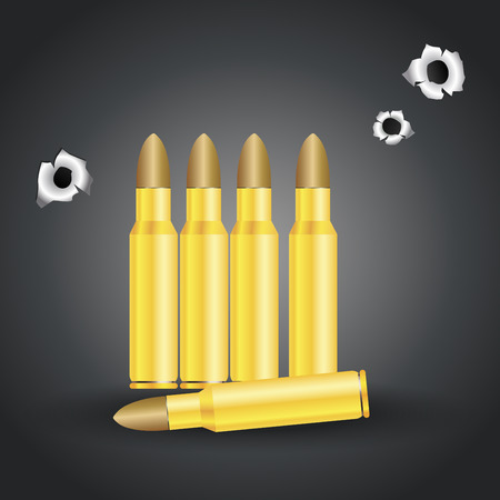 Weapon bullets and bullet holes isolated on gray background vector illustration.