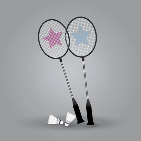 Two badminton rackets with shuttlecock on gray background, vector illustration.
