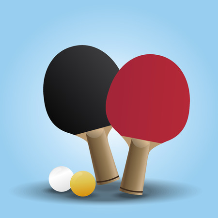 Two rackets design for playing table tennis on Light Blue background, vector illustration.