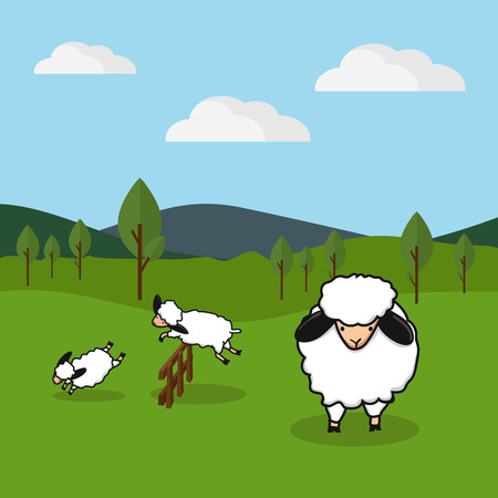 Sheep jumping over a fence in a grassy field background, vector illustration. Ilustrace