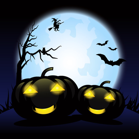 Halloween background with black pumpkins.
