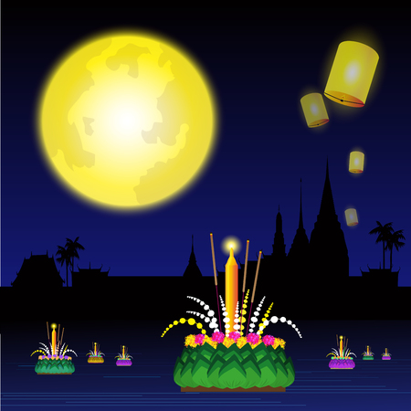 Illustration of Loy Krathong festival of Thailand. Illustration