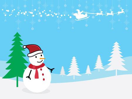 christmastide: Christmas Greeting Card  snowman with Santa Claus and reindeer vector illustration. Illustration