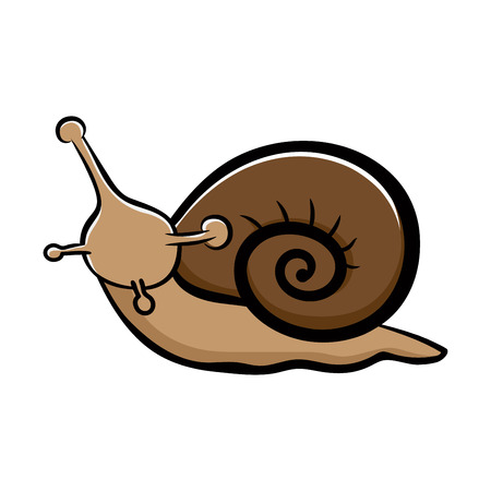 Cute snail isolated on white background  hand-drawn style Vector illustration.