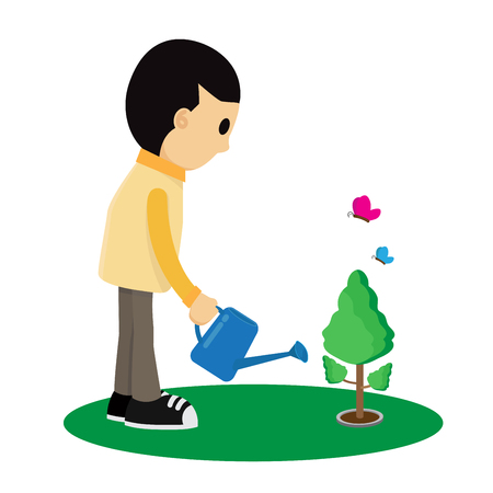 Cartoon child is watering a tree flat style Vector illustration Ilustrace