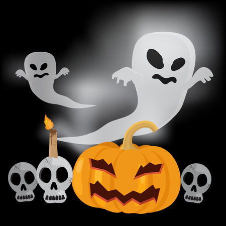 Flying ghost and skull with pumpkin, Happy halloween vector illustration. Ilustrace