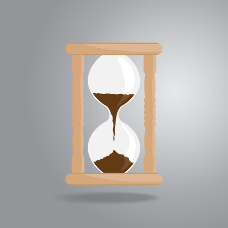 Hourglass icon in cartoon illustration.