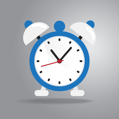 Alarm clock icon in cartoon illustration.