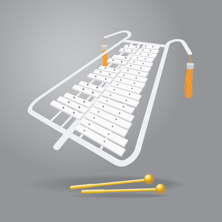 Xylophone icon in cartoon illustration.