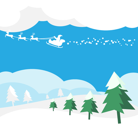 Christmas Greeting card with Santa Claus vector illustration.