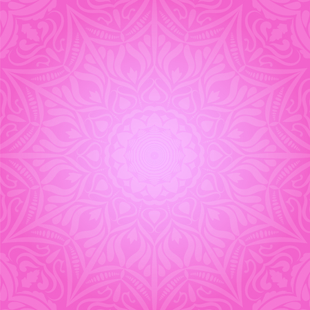 Ethnic decorative round element  pink soft background vector illustration. Ilustrace