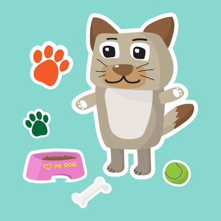 Cute dog cartoon sticker set with paw, bone and ball on blue background vector illustration Reklamní fotografie - 88479245