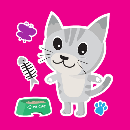 Cute cat cartoon sticker set vector illustration. Ilustrace