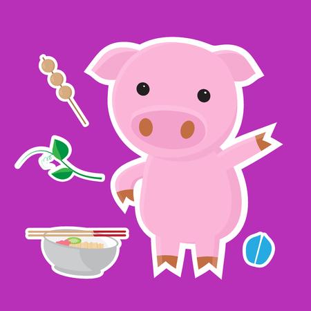 Cute pig cartoon sticker set vector illustration. Illustration