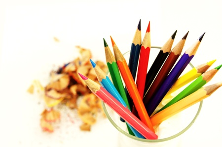 coloured pencils and their waste Stock Photo