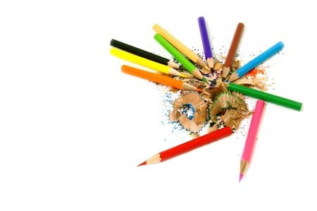 Crayons and their wasted Stock Photo - 9235023
