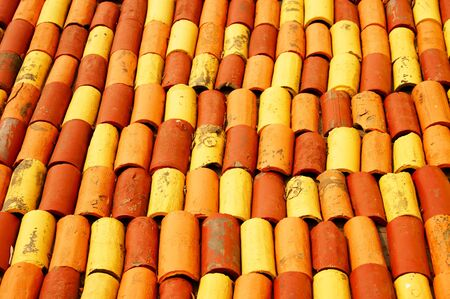 Colorful Bricks Roof             Stock Photo