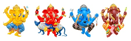 idol: four postures of ganesha, isolated on white background