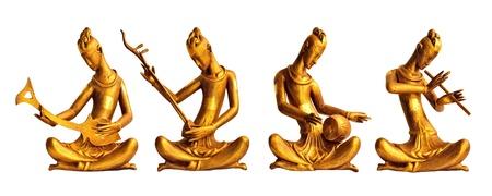 Vier muzikanten hout gesneden met Thaise stijl Stockfoto