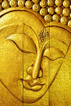 buddha image: Golden buddha face from Chiang Mai, Thailand Stock Photo