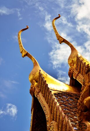 Detail of Ornately Decorated Temple Roof in Bangkok, Thailand