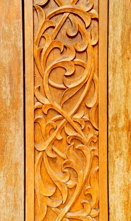 Wood Craving with Thai Pattern  Stock Photo