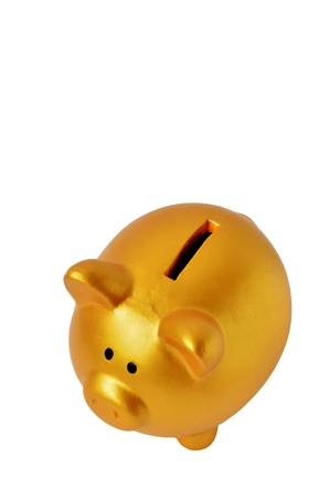 Golden Piggy Bank isolated on White Background