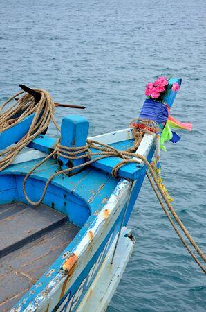 Hoofd van de houten vissersboot