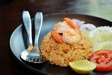 Fried Rice With Shrimp Stock Photo