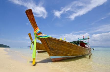 Long Tail Boats at Trang Province, Thailand Stock Photo