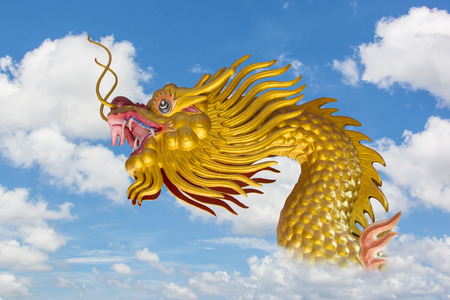 Chinese Golden Dragon and Blue Sky