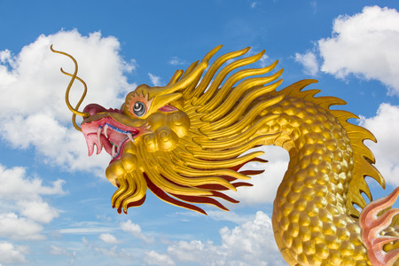 godliness: Chinese Golden Dragon and Blue Sky