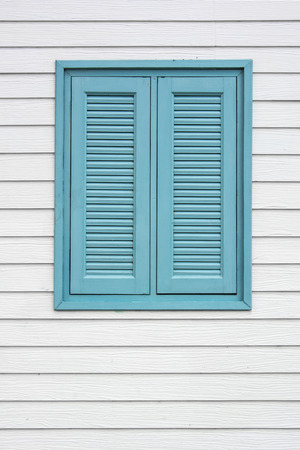 Wooden Cyans Window Stock Photo