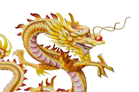 Stucco Dragon Statue On White Background