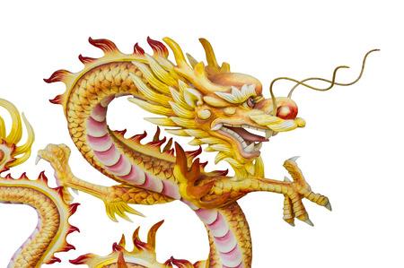 godliness: Stucco Dragon Statue On White Background