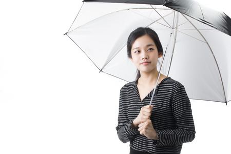Young Asian Woman Holding Black Umbrella