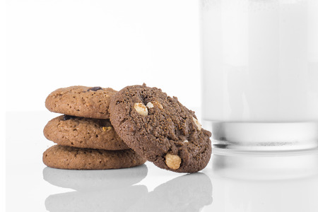 Stack of Dark Chocolate Cookies and White Chocolate Chip