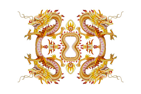 Background of Stucco four headed Dragon