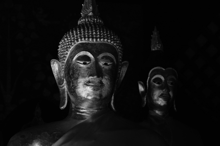 Buddha Image On Black and White