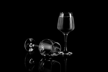 Glass of Wine On Black and White Stock Photo
