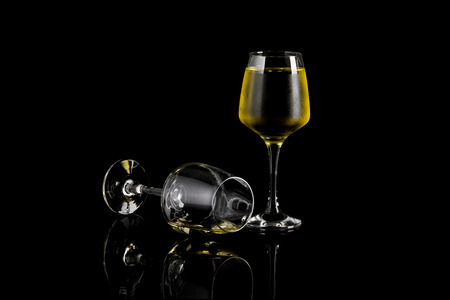 Glass of Apple or Pineapple  Wine On Black