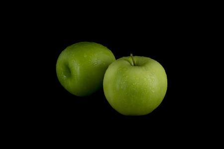 Green Apples On Black Background