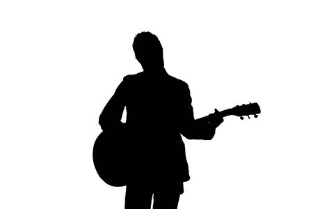 Silhouette of Guitarist On White Background